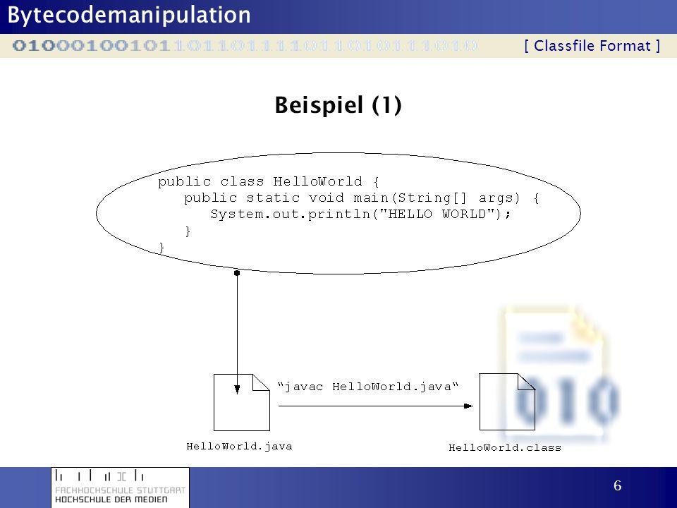 Beispiel (1) [ Classfile Format ]
